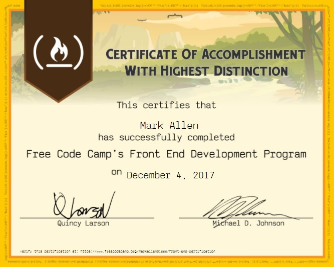 FCC Front-end certificate